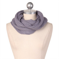 knitted tubular scarf in gray