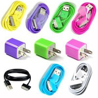 Hot Pink, Purple, Green Wall Ac Charger plus 7Color 3FT USB Sync Data Cable