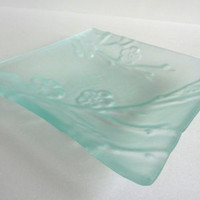 Glass Cherry Blossom Imprinted Dish in Pale Blue Tint