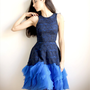 Annabeth - Sample Sale Navy lace and royal blue silk organza dress