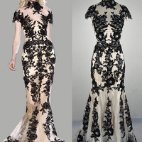Mermaid High Neck Lace Black Evening Dresses, Prom Dresses, Wedding Dress Evening Gown, Prom Gown