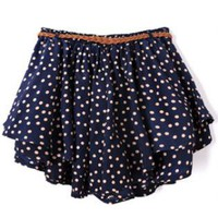 Orange Polka Dot Pleated Culottes HM0015