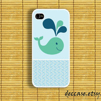 IPHONE 5 CASE - Blue Cartoon Smile Whale over the sea  - iPhone 4 case,iPhone 4S case,iPhone caseHard Plastic Case Rubber Case