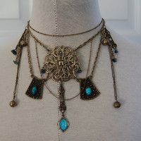 Silver and blue art deco inspired necklace statement piece