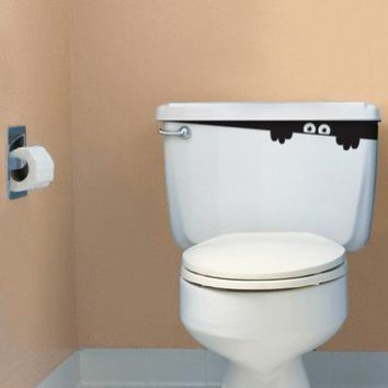 Toilet Decal Art Sticker  Toilet Monster by cvillage on Etsy