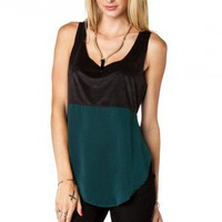 Raison Contrast Tank in Dark Green - ShopSosie.com