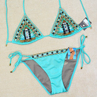 New Victoria's Secret Very Sexy Embellished Turquoise Bikini Swimsuit S