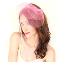 double layer tulle mini veil in hot pink by TheSunflowerStand