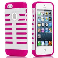 Pink Hybrid High impact Combo Hard Silicone Rubber Case For iPhone 5+Pen+Protect
