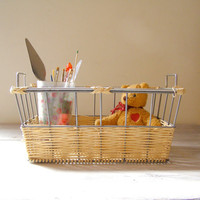 Vintage Basket Rustic reeds and metal Basket by MeshuMaSH on Etsy