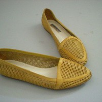vintage yelllow perforated shoes 85 by evamaniadesign on Etsy