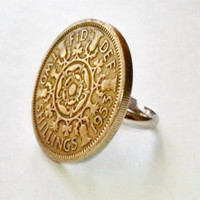 Ring  Two Shillings 1953 UK Currency  by SunshinejDesigns on Etsy
