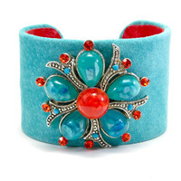 Red and Turquoise Cuff Leather Cuff Bracelet by ArmedWithStyle