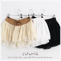 Level imitation leather cord lace waist straps divided skirts
