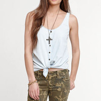 Kirra Chambray Button Front Shirt at PacSun.com