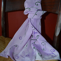Purple Silk Scarf with Swirls