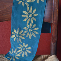 Deep Teal Scarf/Scarflette with Gold Daisies