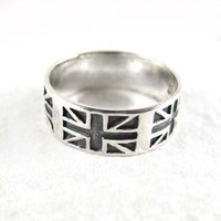 Sterling Silver Union Jack Band Ring