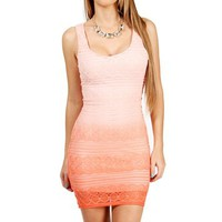 Ivory/Coral Crochet Tank Dress