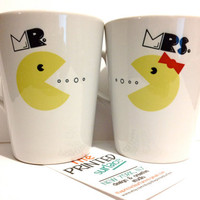 Latte mug couple set of 2 mugs Mr Pacman and by theprintedsurface
