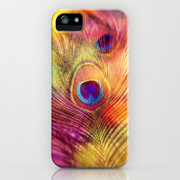 peacock feather iPhone Case by Sylvia Cook Photography