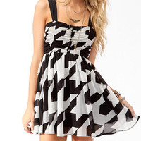 Ruched Houndstooth Skater Dress | FOREVER 21 - 2014191420