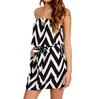 Black/White Strapless Chevron Tunic
