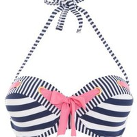 New Look Mobile | Kelly Brook Blue and White Stripe Bikini Top