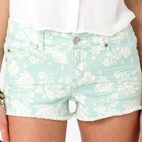 Rose Print Denim Shorts | FOREVER 21 - 2040183134