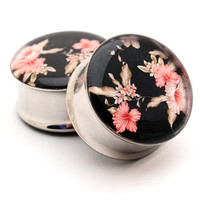 Vintage Floral Picture Plugs Style 5 gauges - 2g, 0g, 00g, 7/16, 1/2, 9/16, 5/8, 3/4, 7/8, 1 inch