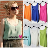 Lookbookstore Power Sale Sheer Plian Petal Chiffon Coloured Tank Top @lookbookstore #lookbookstore