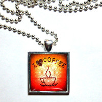Orange. I love coffee. Square 1 ' Sterling Silver, glass, ball chain necklace. Coffee jewelry. Coffee necklace. Glass pendant.
