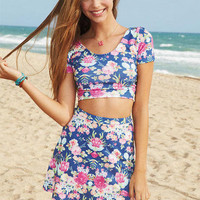 Floral Banded Skirt Set