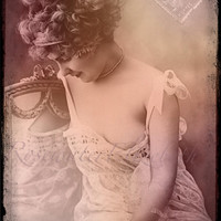 Pearl Of A Girl Vintage Reproduction Photo Print  MATURE