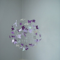 Purple Lavender and Silver Butterfly Mobile at by ButterflyOrbs