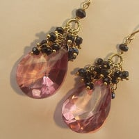 Pink Quartz Black Spinel Cluster Earrings by TownCountryJewelry