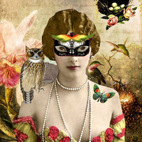 Mystic Mask Angel Fairy Mixed Media Humming by MixedMediaMuseum