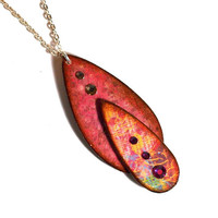 Double Teardrop Necklace Decoupaged Pendant with by rrizzart