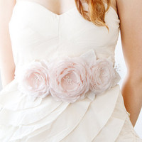 Blushing Roses Bridal Sash or Headband by sibodesigns on Etsy