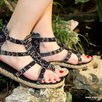 Earthy Womens Gladiator Sandals, Summer Shoes In Brown Hmong Embroidery Isadora