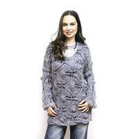 Summer Sweater, Hand Knit Lace Summer Sweater, Mohair Sweater by Solandia, Grey, Gray, Knitting, Knitted, Sweater, Spring, Women fashion
