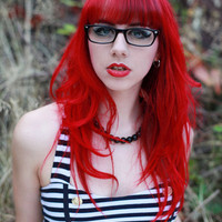 RED WARRIOR  // (4) Solid Red Hair Extensions // Clip-In // Human Hair