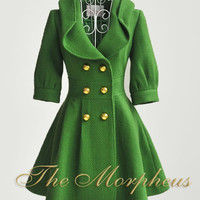 Green Celebrity 3/4 Sleeve double breasted Pleated Overcoat