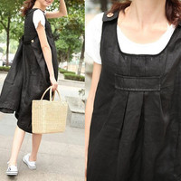 Black Linen Sundress with pockets / Party Dress by camelliatune