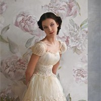 Ivory tulle a-line scoop neckline short sleeves wedding dresses PWD006
