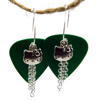 Dangle Wire Green Guitar Pic Silver Hello by TheCraftyPandaGirl