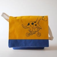 Messenger Bag - Dino On Bike Yellow Blue