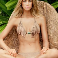 Suede Fringe Triangle  Tieside Bottom - Vix - Swimwear