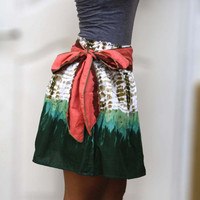 ON SALE Emerald Green Mini Skirt with Coral Sash