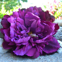 Flower Hair Clip-PURPLE PEONY-Floral Hair Clip, Romantic Weddings, Weddings, Floral Fascinator, Bridesmaid Hair Flower, Purple